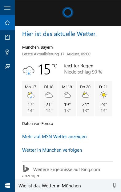 Cortana-Wetter