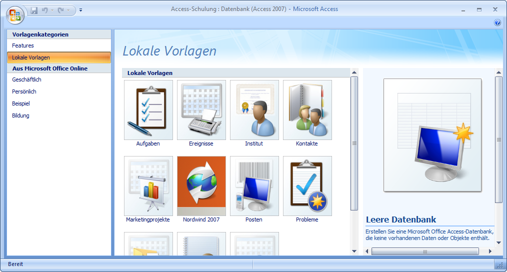 Schön Access 2007 Vorlagen Herunterladen Ideen - Beispiel ...