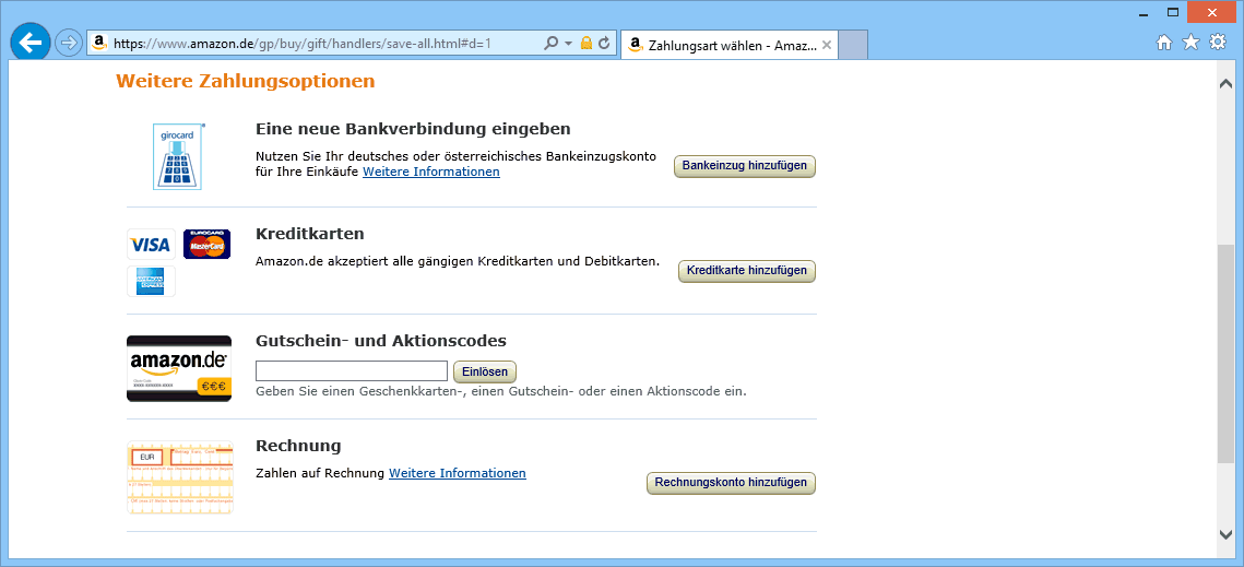 E-Commerce Bezahlvarianten