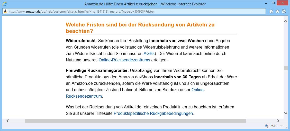 E-Commerce Widerrufsrecht
