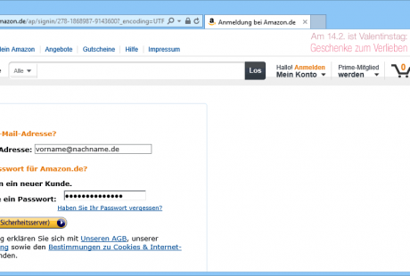 E-Commerce einloggen