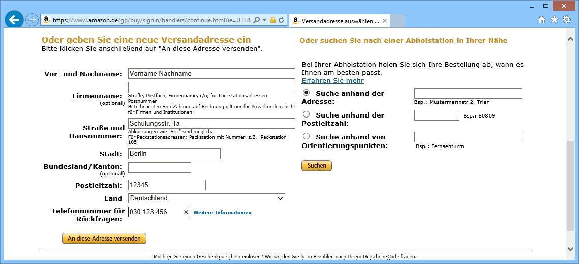 E-Commerce persönliche Daten