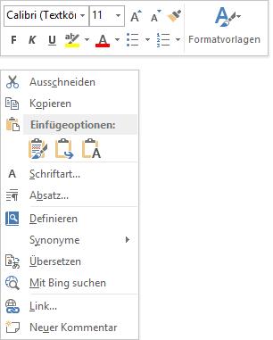 Kontext-Symbolleiste