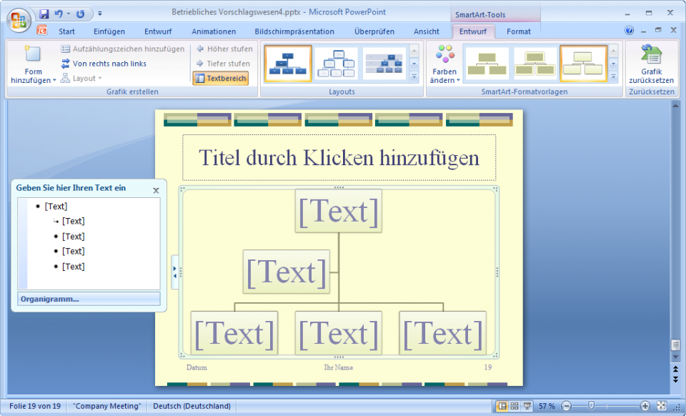 Organigramm mit Textbereich