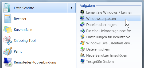 Windows 7 Untermenü
