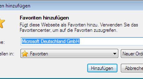 Internet Explorer 9 Favoriten-hinzufügen