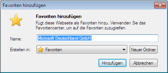 Internet Explorer 9 Favoriten-hinzufügen