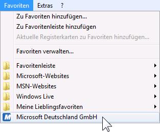 Internet Explorer 9 neuer Eintrag