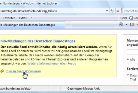 Windows Vista Internet Explorer 7 Feed abonnieren