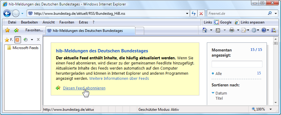 Windows Vista Internet Explorer 7 Feed abonnieren