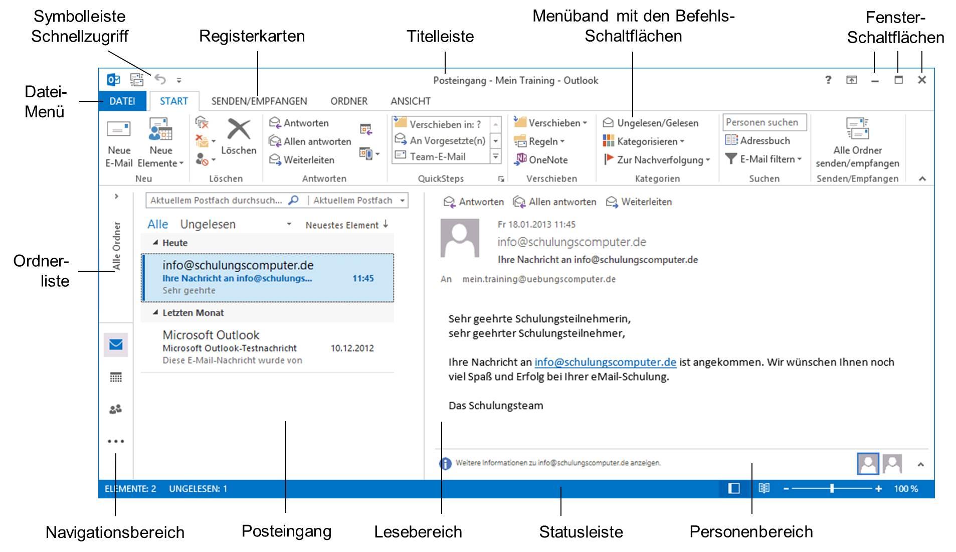 Outlook-Bildschirm mit dem Posteingang (Beispiel)s Outlook ...