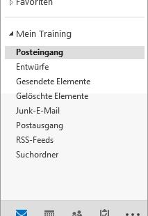 Outlook 2013 Ordnerbereich Modulleiste