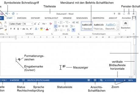 Der Word 2013-Bildschirm in der Schulungsunterlage