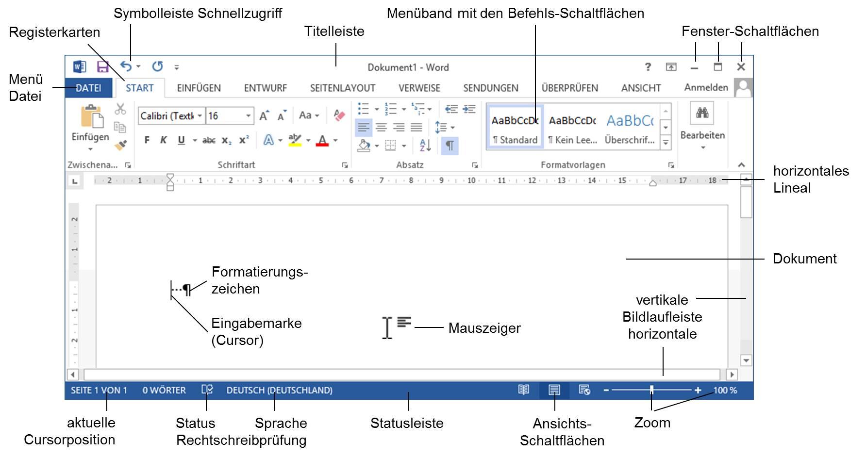Schulungsunterlage Microsoft Word 2013 Bildschirm