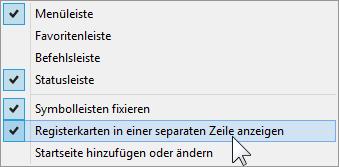 Schulungsunterlagen Internet Explorer 10 Kontextmenü