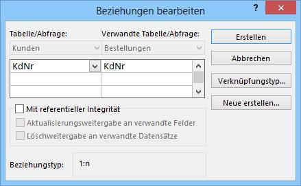 Microsoft Access 2013 Beziehungen bearbeiten