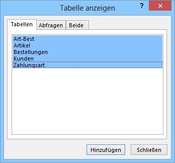 Dialogfeld Tabelle anzeigen