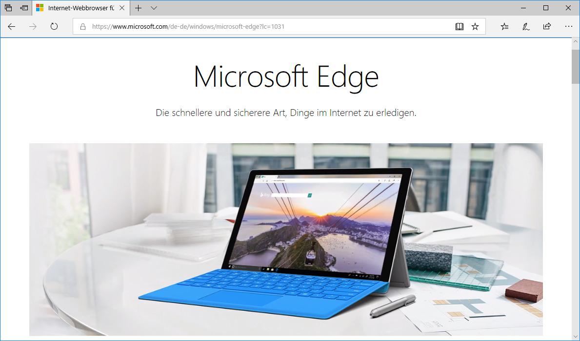 Schulungsunterlagen Microsoft Edge Startbildschirm