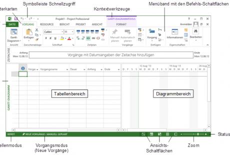 Schulungsunterlagen Microsoft MS-Project 2013 Projekt-Fenster
