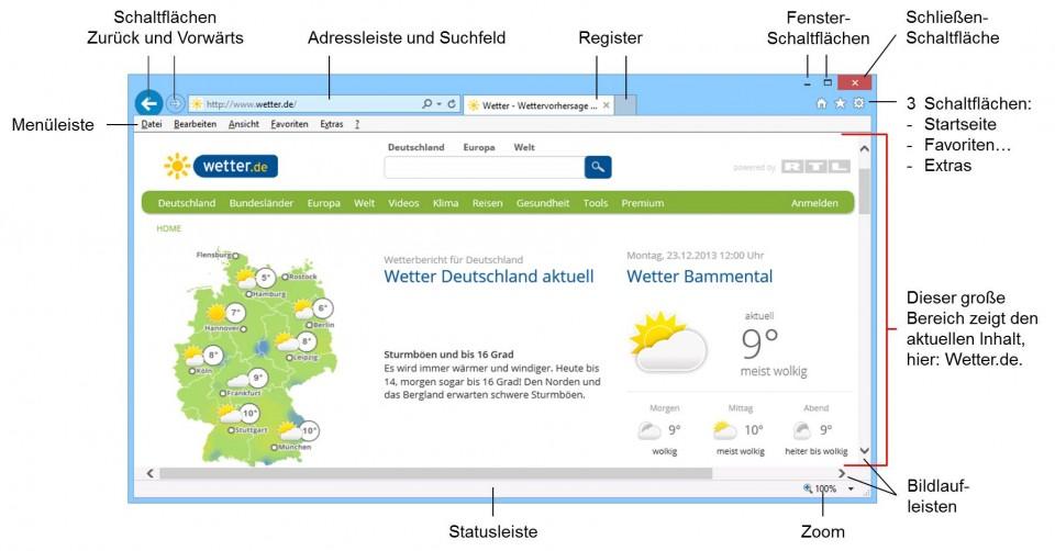 Schulungsunterlagen Umstieg Windows 8.1 Internet Explorer 11 Bildschirm
