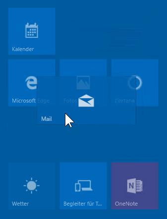Schulungsunterlagen Windows 10 Kachel ziehen