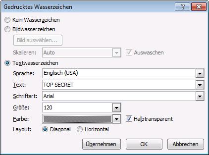 Word 2010 benutzerdefiniertes Wasserzeichen