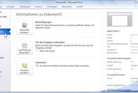 Office 2010 Datei-Menü