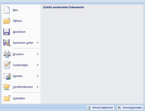 Office 2007 Datei Menü