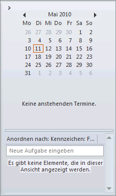 Outlook 2010 Aufgabenleiste