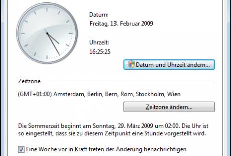 Datum Uhrzeit einstellen