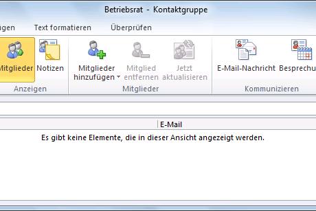 Outlook 2010 Kontaktgruppenname