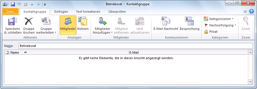 Outlook 2010 Kontaktgruppenname