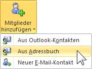 Outlook 2010 Mitglied aus Adressbuch