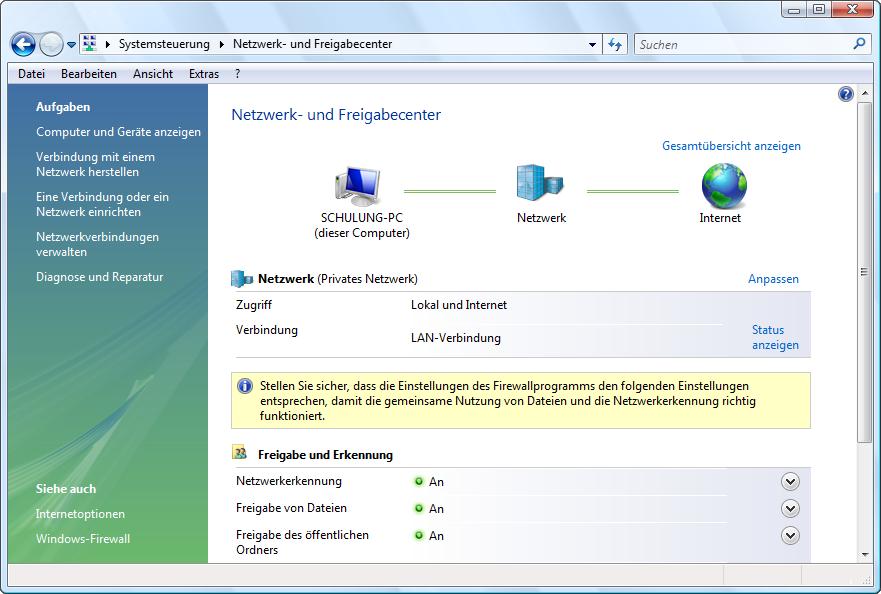 Vista Netzwerk konfigurieren
