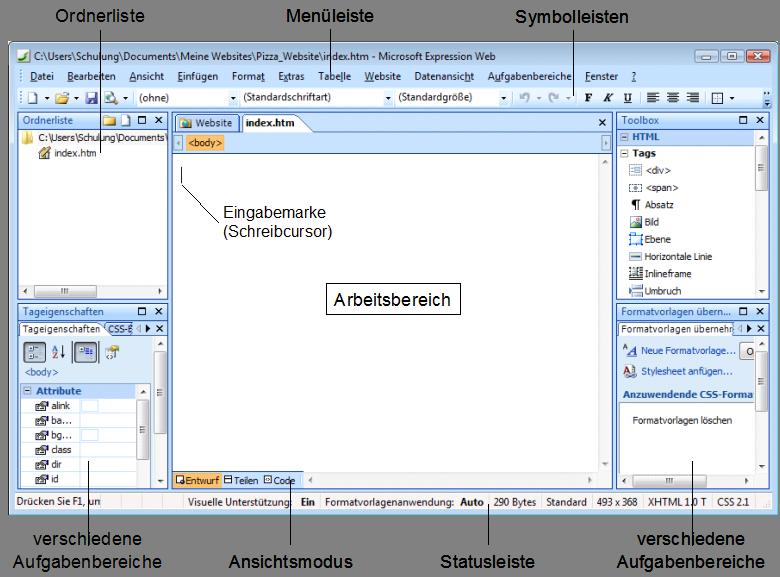 Expression Web Bildschirm