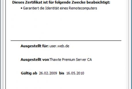 Internet Explorer 8 Zertifikatsinformationen