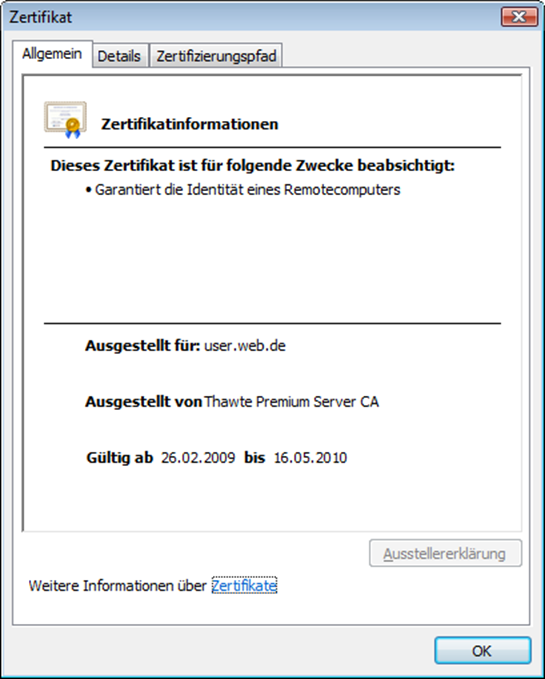 Internet Explorer 8 Zertifikatsinformationen