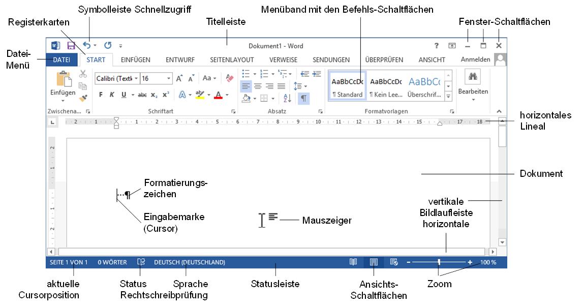Word 2013 Bildschirm Beschriftung