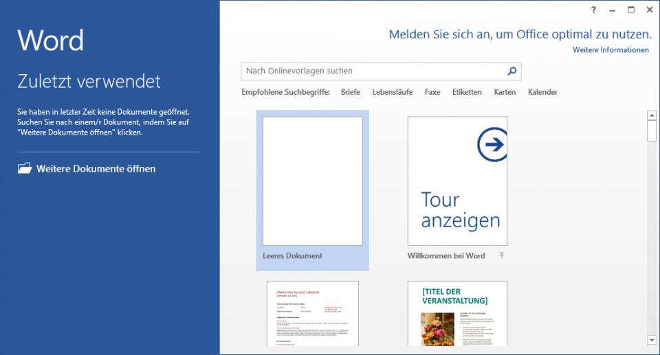 Der Word 2013-Startbildschirm in der Trainingsunterlage