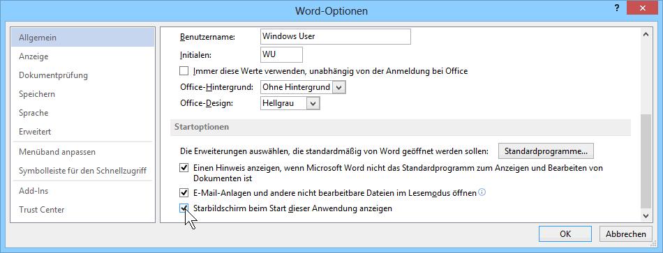 Word 2013 Startbildschirm Optionen
