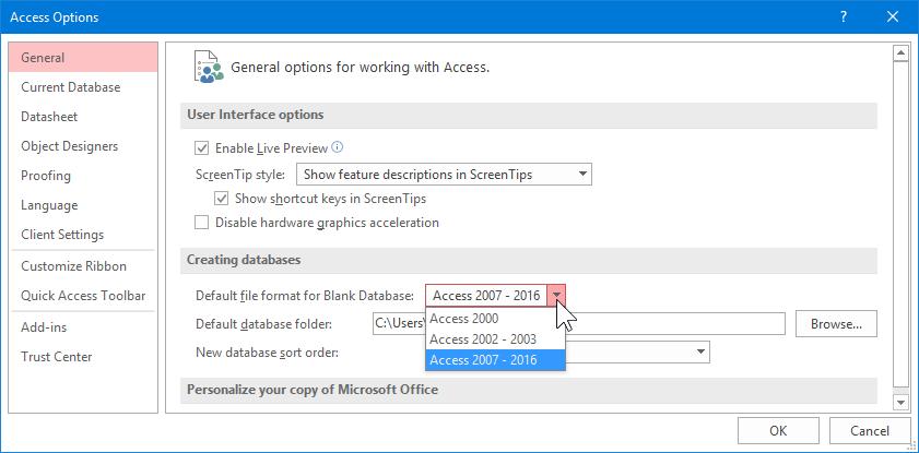 Access 2016 Grundlagen Englisch options
