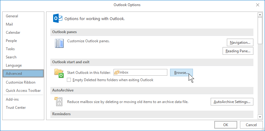 Outlook 2016 Grundlagen Englisch start folder