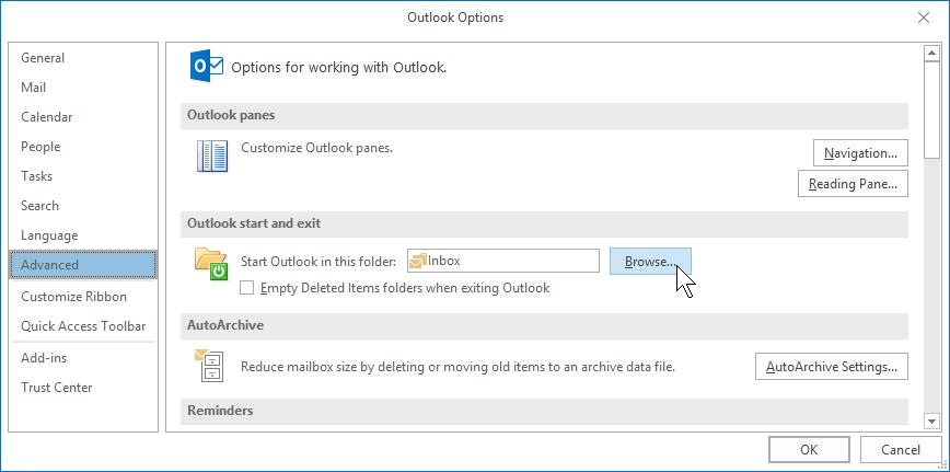 Outlook 2016 Grundlagen Englisch start folder