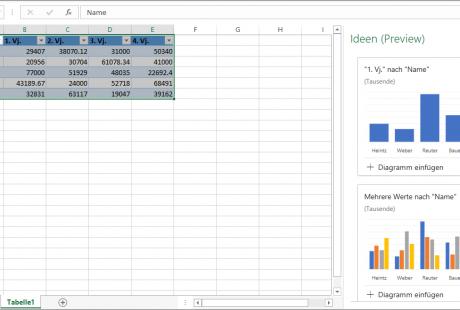 Excel-Tabellenliste mit dem Aufgabenbereich Ideen
