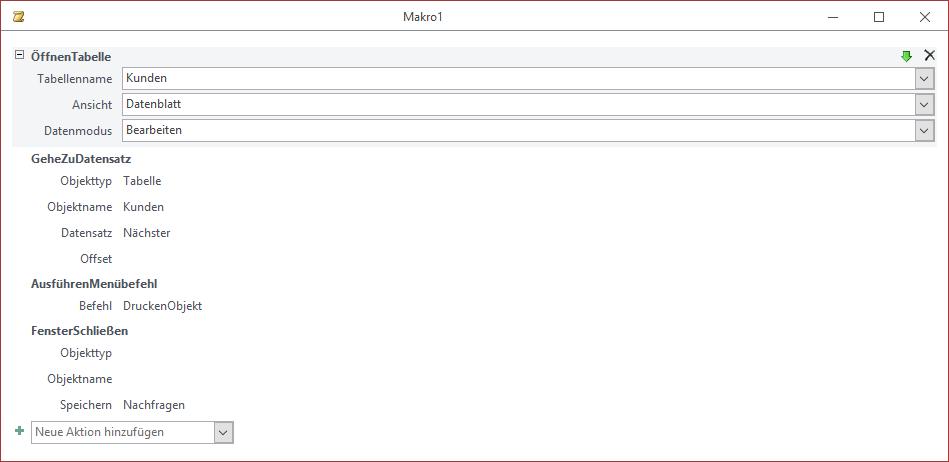 Mehrere Befehle in der Makro-Entwurfsansicht